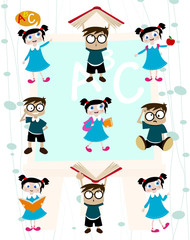 cute students cartoon set