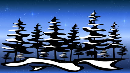 winter scene with falling snow and twinkling stars
