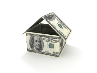 Mortgage concept. House made out of 100 dollar bills