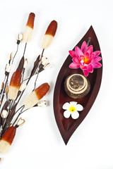 Beautiful flowers with wooden leaf tray