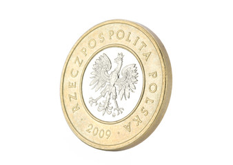 Polish coin with clipping path