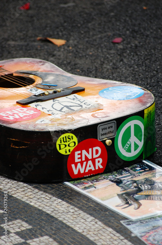 Guitar at memorial for John Lennon in Strawberry Fields, NYC.