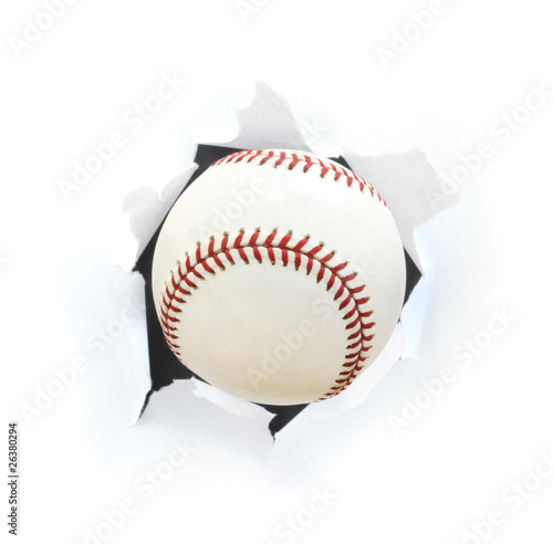 Baseball Bursting Though a Hole