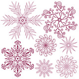 Set dark lilas snowflakes