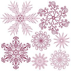 Set dark lilas snowflakes