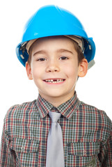 Smiling little architect with missing teeth