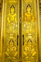 traditional art on thai temple church door