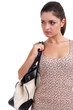 young dark hair woman with bag, isolated
