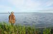 Duck hunter standing in the reeds