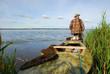 Hunter with his kayak
