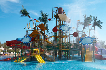 Colorful aquapark constructions