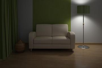Evening Design interior. Sofa in Modern living room.