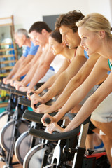Group Cycling In Spinning Class In Gym