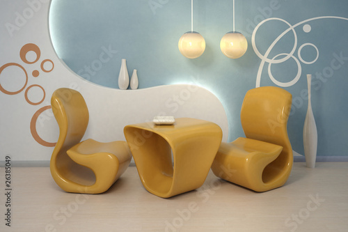 Design interior. Modern orange armchairs