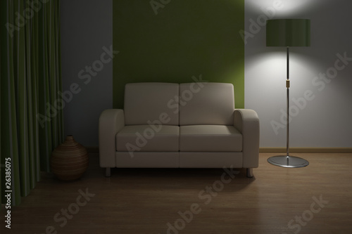 Evening Design interior. Sofa in Modern living room.