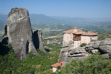 Monastery Roussanou And Valley Meteora, Greece
