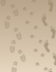 vector foot prints of men and dog