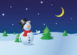 Snowman in the winter pine forest  - Christmas collection