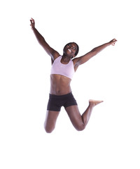 Athlete african woman jumping