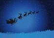 Weihnachtsmann mit Rentieren am Himmel
