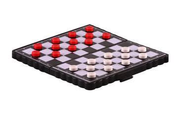 chessboard with white and red draughts