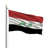 Flag of Iraq waving in the wind in front of white background