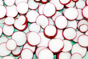 Radish Slices on Green