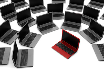 red laptop among gray similar isolated on white background