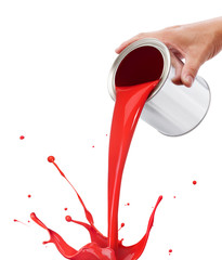 pouring red paint