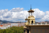 building in park Montjuic in barcelona, spain, catalonia poster