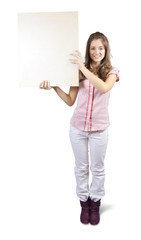 long-haired girl in holds poster