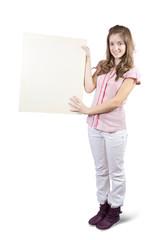teen holding a banner