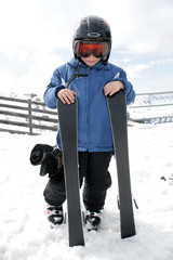 Boy on ski vacation