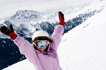 Teenager girl on ski vacation