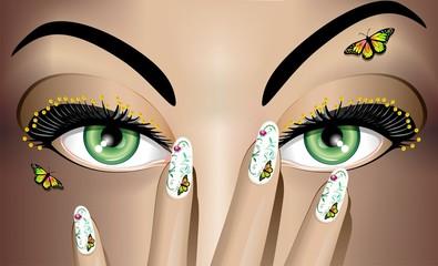 Trucco Mani e Occhi-Eyes and Nails Art Make Up-Vector