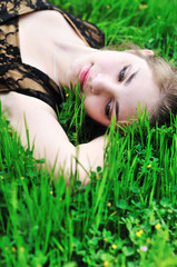 rest on the green grass