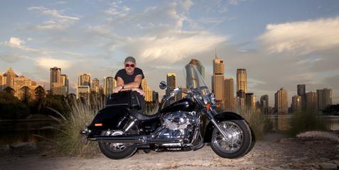 Bike rider with city backround
