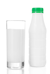 A bottle of kefir with glass isolated on white background