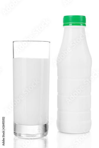 Leinwandbild Motiv A bottle of kefir with glass isolated on white background