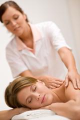 Luxury care - woman getting back massage
