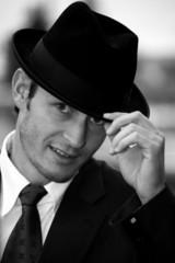 Mann mit Hut sw