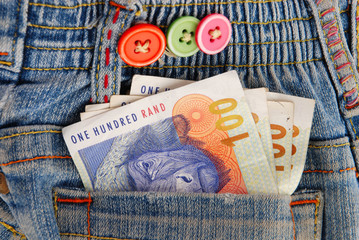 Rands money in jeans pocket