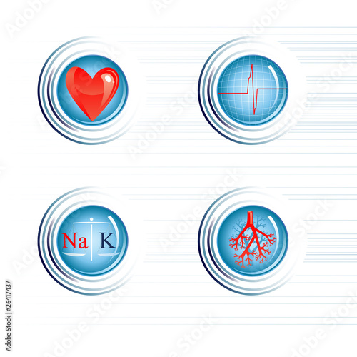 Four icon of human healthy heart