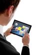 businessman holding a touchpad pc using little widget programms