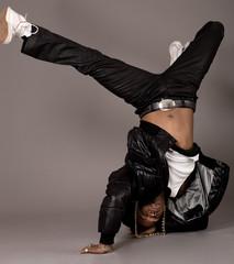 African american doing break dance