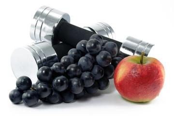 hantel mit früchten