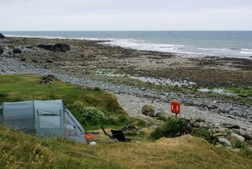 single tent camping on coast