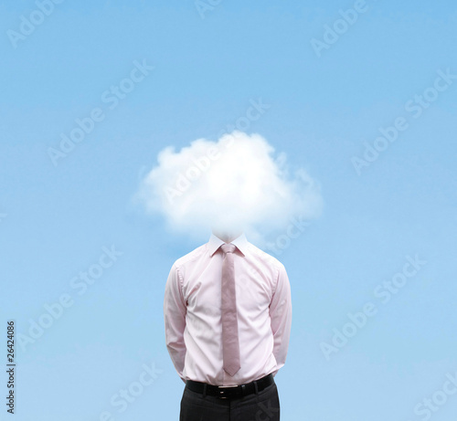 Businessman in cloud