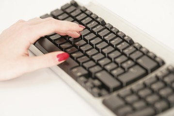 Hand an dem Keyboard
