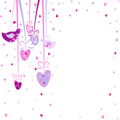 pretty background with hearts and birds